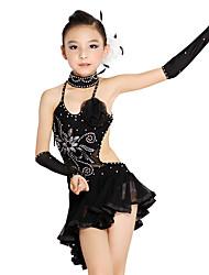 abordables -Baile Latino / Ropa de Baile para Niños Accesorios Chica Entrenamiento / Rendimiento Poliéster / Malla Volantes en Cascada / Cristales / Rhinestones / Lentejuela Sin Mangas Vestido / Mangas / Neckwear