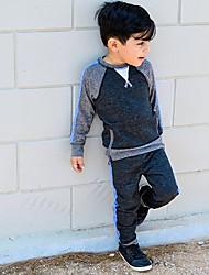 billige -Baby Drenge Aktiv / Basale Farveblok Trykt mønster Langærmet Normal Bomuld / Spandex Tøjsæt Grå