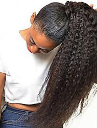 Недорогие -Клип во / на Конские хвостики Без запаха / Подарок / Для темнокожих женщин человеческие волосы Remy / Натуральные волосы Волосы Наращивание волос Прямой До щиколотки Повседневные