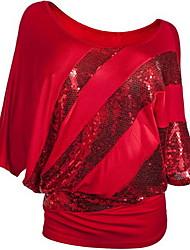 hesapli -Kadın ab / us boyut ince tişört - düz renkli yuvarlak boyun
