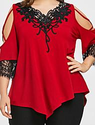 hesapli -Kadın artı boyutu t-shirt - renkli blok v boyun