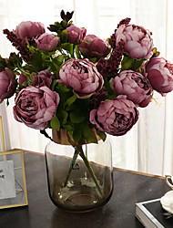 Недорогие -Искусственные Цветы 1 Филиал Классический Винтаж европейский Пионы Букеты на стол