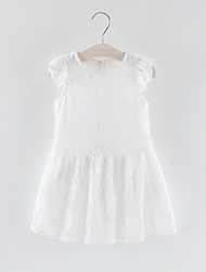 cheap -Toddler Girls' Sweet Solid Colored Lace Sleeveless Above Knee Polyester Dress White