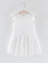 baratos -Bébé Para Meninas Doce Sólido Renda Sem Manga Acima do Joelho Poliéster Vestido Branco