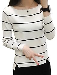 Недорогие -Жен. Полоски Пуловер Весна Белый / Черный / Серый Один размер