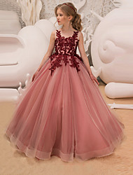 cheap -Princess Long Length Flower Girl Dress - Lace / Tulle Sleeveless Jewel Neck with Appliques / Lace / Belt by LAN TING Express