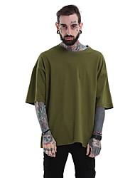 baratos -Homens Tamanho Europeu / Americano Camiseta Sólido Decote Redondo