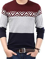 baratos -Homens Camiseta Patchwork, Listrado