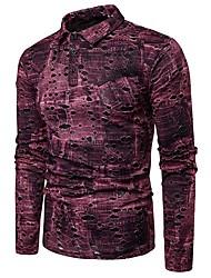 baratos -Homens Tamanho Europeu / Americano Polo 3D Algodão Colarinho de Camisa