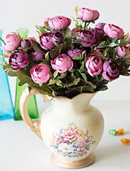 abordables -Fleurs artificielles 2 Une succursale Classique Accessoires de Scène style pastoral Camélia Fleurs éternelles Fleur de Table