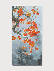 voordelige -Hang-geschilderd olieverfschilderij Handgeschilderde - Bloemenmotief / Botanisch Modern Inclusief Inner Frame