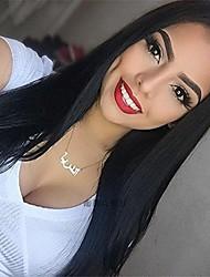Χαμηλού Κόστους -Συνθετικές μπροστινές περούκες δαντέλας Κατσαρά Ίσια Μαύρο Κούρεμα με φιλάρισμα Μαύρο 180% Ανθρώπινο πυκνότητα των τριχών Συνθετικά μαλλιά 20-26 inch Γυναικεία Γυναικεία Μαύρο Περούκα Μακρύ / Ναι