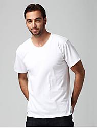 levne -Pánské - Jednobarevné EU / US velikost Tričko Bavlna Kulatý