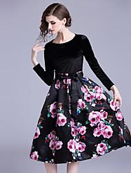 baratos -Mulheres Vintage Evasê Vestidinho Preto Vestido - Estampado, Floral Médio
