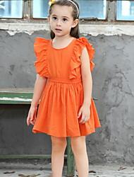 Χαμηλού Κόστους -Παιδιά Κοριτσίστικα Βασικό Μονόχρωμο Σουρωτά Κοντομάνικο Ως το Γόνατο Πολυεστέρας Φόρεμα Πορτοκαλί