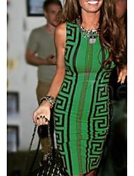 cheap -Women's Basic Bodycon Dress - Geometric Green S