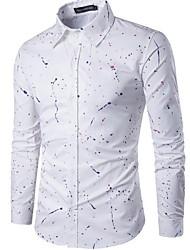 olcso -férfi vékony póló - pöttyös / tömör színű ing gallér