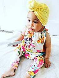 billige -Baby Jente Aktiv / Grunnleggende Blomstret / Geometrisk Blomster / Blomster stil / Blandet Farge Ermeløs Bomull / Polyester Endelt Hvit
