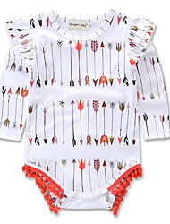 お買い得  -赤ちゃん 女の子 活発的 幾何学模様 プリント 長袖 ポリエステル ワンピース ホワイト