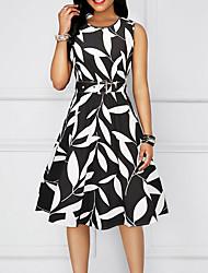 cheap -Women's Basic A Line Sheath Dress - Geometric Black Red Yellow L XL XXL