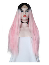 Χαμηλού Κόστους -Συνθετικές μπροστινές περούκες δαντέλας Μεταξένια Ίσια Ροζ Μέσο μέρος Μαύρο / Ροζ Συνθετικά μαλλιά 24 inch Γυναικεία Ρυθμιζόμενο / Ανθεκτικό στη Ζέστη / Γυναικεία Ροζ Περούκα Μακρύ Δαντέλα Μπροστά