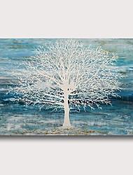 abordables -Pintura al óleo pintada a colgar Pintada a mano - Abstracto Floral / Botánico Contemporáneo Modern Incluir marco interior