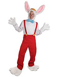 billige -Rabbit Mascot påskeharen Cosplay Kostumer Kjeledress Voksne Herre Cosplay Halloween Påske Festival / høytid Polyester Rød Karneval Kostumer Ensfarget
