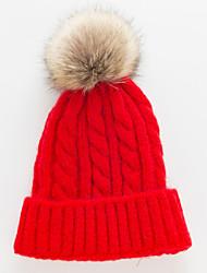 Недорогие -Жен. Активный Классический Симпатичные Стиль Широкополая шляпа Шерсть Акрил,Однотонный Осень Зима Желтый Винный Светло-серый
