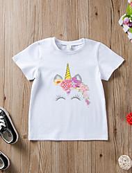 お買い得  -子供 女の子 活発的 / ベーシック ソリッド / プリント プリント 半袖 コットン Tシャツ ホワイト