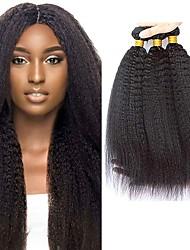 billige -4 pakker Brasiliansk hår Kinky Glat Jomfruhår Menneskehår, Bølget Bundle Hair Én Pack Solution 8-28inch Naturlig Farve Menneskehår Vævninger Nuttet Sødt Kreativ Menneskehår Extensions Dame