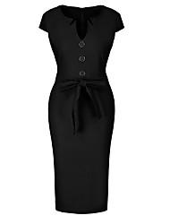 levne -Dámské Bavlna Štíhlý Pouzdro Šaty Délka ke kolenům Do V
