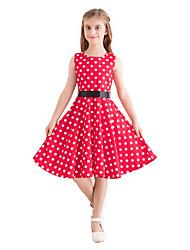 hesapli -Çocuklar Genç Kız Vintage / sevimli Stil Yuvarlak Noktalı Desen Kolsuz Diz-boyu Pamuklu Elbise YAKUT