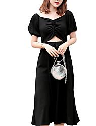 voordelige -Dames Elegant Klein en zwart Jurk Blote rug Midi