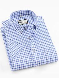 abordables -Hombre Camisa A Cuadros Azul Piscina XXL