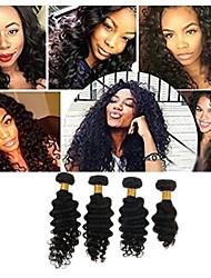 Недорогие -4 Связки Бразильские волосы Крупные кудри человеческие волосы Remy Человека ткет Волосы Пучок волос One Pack Solution 8-28inch Естественный цвет Ткет человеческих волос Водопад Простой Без запаха