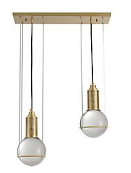 Недорогие -ZHISHU 2-Light кластер / промышленные Подвесные лампы Потолочный светильник Латунь Металл 110-120Вольт / 220-240Вольт Теплый белый / Белый