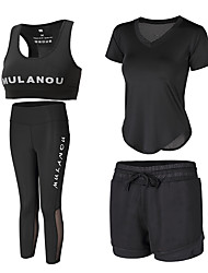 voordelige -4pcs Dames Yoga pak Wit Zwart Sport Modieus Sportoutfits Yoga Gym training Korte mouw Sportkleding Ademend Sneldrogend Zweetafvoerend Power Flex Hoge Elasticiteit