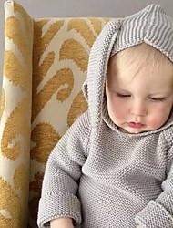 Недорогие -малыш Мальчики Уличный стиль Однотонный Длинный рукав Полиэстер Блуза Белый