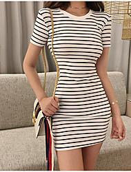 お買い得  -女性用 ベーシック ボディコン ドレス - パッチワーク, ソリッド ストライプ 膝上