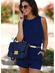 baratos -Mulheres Básico Azul Vermelho Amarelo Macacão, Sólido M L XL