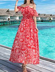 رخيصةأون -فستان نسائي ثوب ضيق متموج أساسي طويل للأرض هندسي