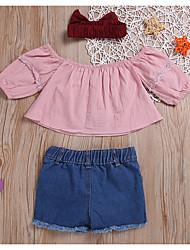 halpa -Vauva Tyttöjen Perus Color Block Pitkähihainen Lyhyt Polyesteri Vaatesetti Punastuvan vaaleanpunainen