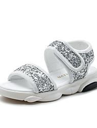 billige -Drenge / Pige Sko Syntetisk Sommer Komfort Sandaler Paillette for Børn Sort / Sølv