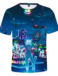 preiswerte -Kinder Jungen Aktiv Druck Kurzarm Baumwolle / Elasthan T-Shirt Blau