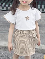 povoljno -Dijete Djevojčice Osnovni Geometrijski oblici Kratkih rukava Regularna Pamuk Komplet odjeće Red