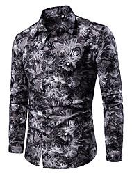 Недорогие -Муж. С принтом Большие размеры - Рубашка Хлопок Геометрический принт / Огурцы / Графика Синий