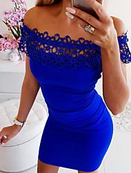 Недорогие -Жен. Тонкие Облегающий силуэт Платье Кружева С открытыми плечами Выше колена