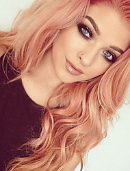 cheap -Synthetic Wig / Synthetic Lace Front Wig Wavy / Matte Jenner Style Free Part Lace Front Wig Rose Gold Synthetic Hair 24inch Women's Classic / Synthetic / Fashion Rose Pink Wig Long Cosplay Wig