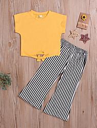 お買い得  -赤ちゃん 女の子 ベーシック / ストリートファッション ソリッド / ストライプ 半袖 レギュラー レギュラー コットン アンサンブル イエロー