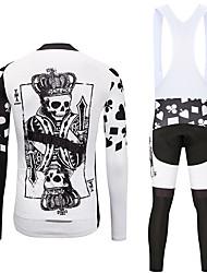 お買い得  -MUBODO 男性用 長袖 ビブタイツ付きサイクリングジャージー ブラック / ホワイト バイク スーツウェア 高通気性 速乾性 反射性ストリップ スポーツ メッシュ マウンテンサイクリング ロードバイク 衣類 / 伸縮性あり